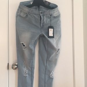 3 for $25 distress jeans light blue (small fit)